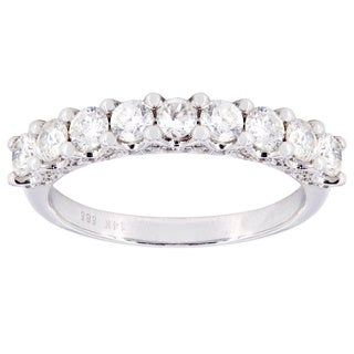 14k White Gold 1 1/3ct TDW Single Row 9-stone Diamond Wedding Band (H-I, I1-I2)