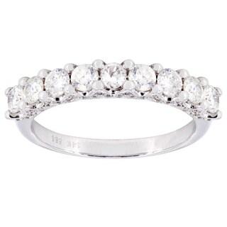 14k White Gold 1 1/3ct TDW Single Row 9-stone Diamond Wedding Band