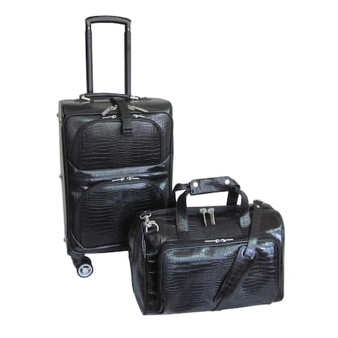 Amerileather Black Leather Croco-Print 2-Piece Carry-On Spinner Luggage Set