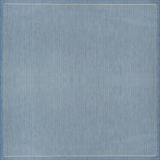 Couristan Recife Saddle Stitch Champagne/Blue Polypropylene Power-loomed Area Rug (7'6 x 7'6)