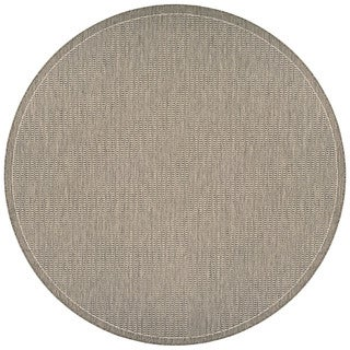 "Couristan Recife Saddle Stitch/Champagne/Taupe Outdoor Round Area Rug - 7'6"" x 7'6"""