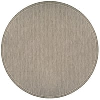 "Couristan Recife Saddle Stitch Champagne-Taupe Indoor/Outdoor Round Rug - 7'6"" x 7'6"""