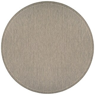 Couristan Recife Saddle Stitch Champagne-Taupe Round Outdoor Area Rug - 8'6 x 8'6