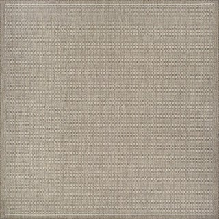 Couristan Recife Saddle Stitch Champagne/Taupe Square Outdoor Area Rug - 8'6 x 8'6