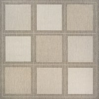 Couristan Recife Summit Champagne-Taupe Indoor/Outdoor Square Rug - 7'6 x 7'6