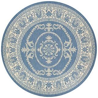 Couristan Recife Antique Medallion Champagne/Blue Polypropylene Area Rug (7'6 Round)