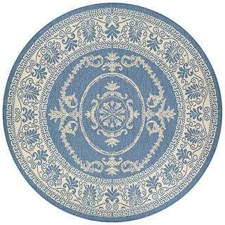 Couristan Recife Antique Medallion/Champagne Blue Round Outdoor Rug - 8'6 x 8'6