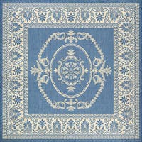 Couristan Recife Antique Medallion Champagne-Blue Indoor/Outdoor Square Rug - 8'6 x 8'6