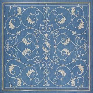 Power-loomed Couristan Recife Veranda/Champagne Blue Polypropylene Square Rug (7'6 x 7'6)