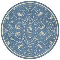 Couristan Recife Veranda Champagne-Blue Indoor/Outdoor Round Rug - 8'6 x 8'6