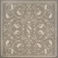 Couristan Recife Veranda Champagne-Taupe Indoor/Outdoor Square Rug - 8'6 x 8'6