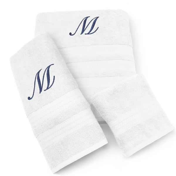 Milan Cotton 3-piece Navy Monogram Towel Set