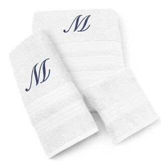 Kaufman Imperial Cotton 3-piece Navy Monogram Towel Set