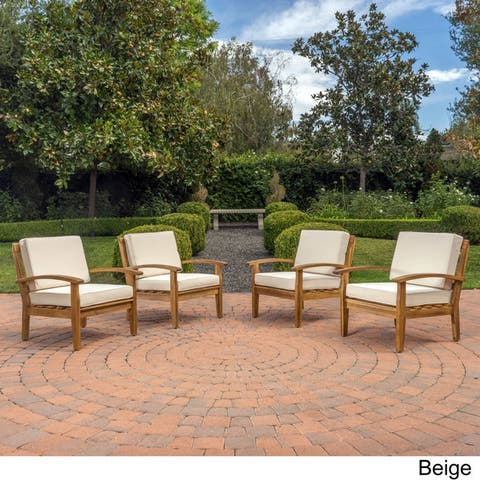 Peyton Outdoor Wooden Club Chair (Set of 4) by Christopher Knight Home