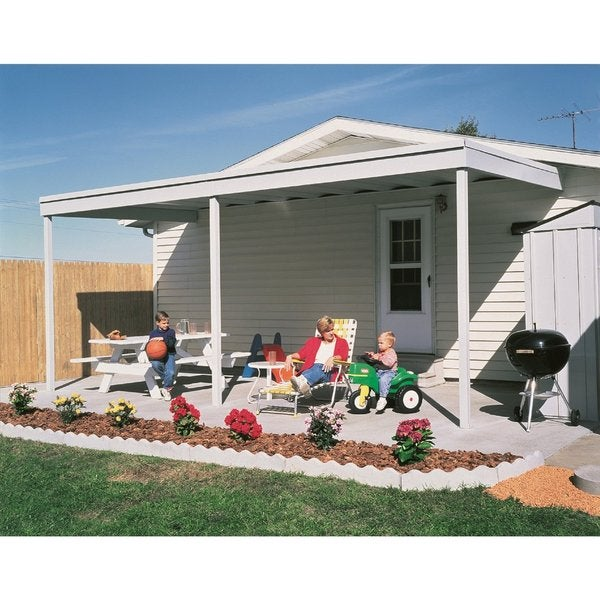 Arrow Products White Galvanized Steel Attached Patio Cover