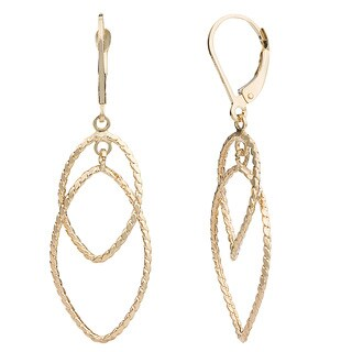Fremada 14k Yellow Gold Marquise Dangle Leverback Earrings