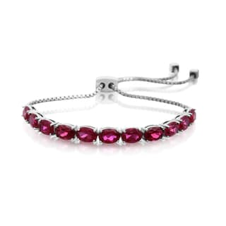 7 Carat Ruby Adjustable Slide Tennis Bracelet