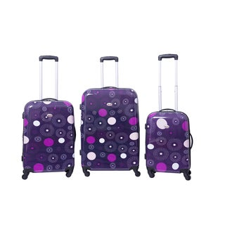 American Flyer Fireworks Purple 3-piece Expandable Hardside Spinner Luggage Set