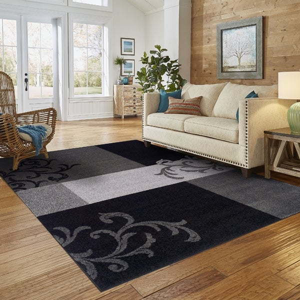Shop Superior Modern Elegant Scroll Black Area Rug 8 X