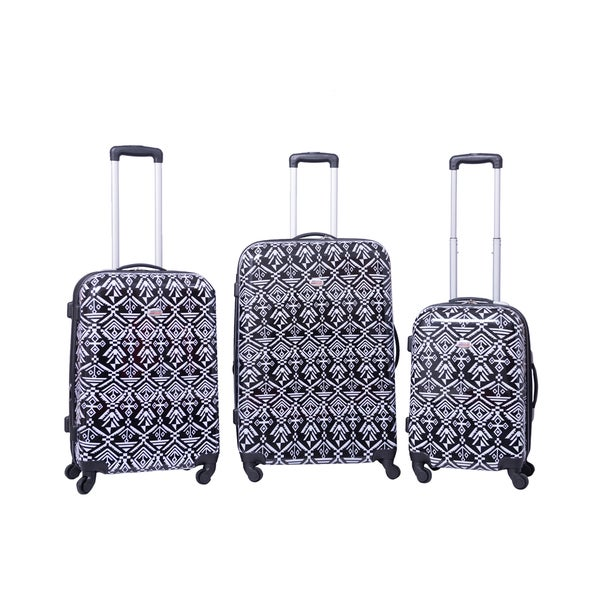 American Flyer Aztec Black And White 3 Piece Expandable Hardside Spinner Luggage Set