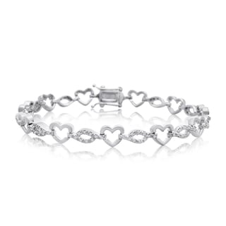 7/8ct Diamond Heart Bracelet In Platinum Over Brass, 7 Inches
