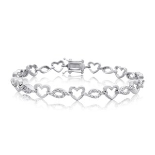 7/8ct Diamond Heart Bracelet In Platinum Over Brass, 7 Inches - White J-K