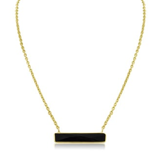 10 Carat Black Onyx Bar Necklace In Yellow Gold
