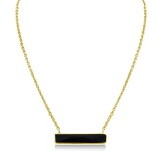 10 TGW Black Onyx Bar Necklace In Yellow Gold Over Brass