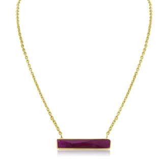 10 Carat Ruby Bar Necklace In Yellow Gold
