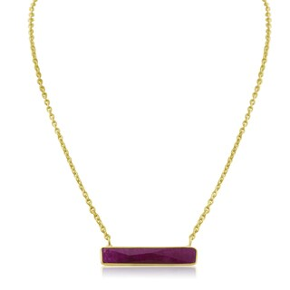 10 TGW Ruby Bar Necklace In Yellow Gold Over Brass