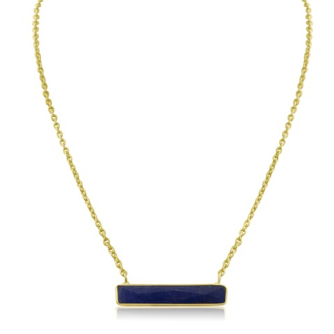 10 TGW Sapphire Bar Necklace In Yellow Gold Over Brass