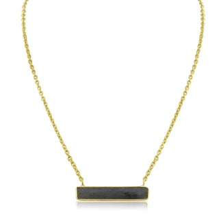 10 Carat Labradorite Bar Necklace In Yellow Gold