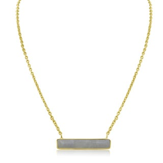 10 TGW Moonstone Bar Necklace In Yellow Gold Over Brass
