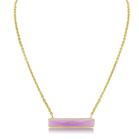 10 TGW Rasperry Quartz Bar Necklace In Yellow Gold Over Brass