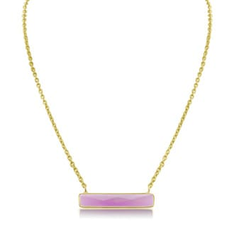 10 Carat Rasperry Quartz Bar Necklace In Yellow Gold