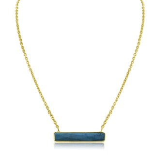 10 TGW Turquoise Bar Necklace In Yellow Gold Over Brass