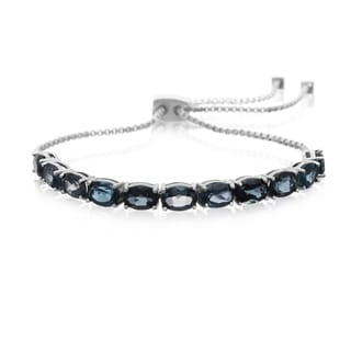 7 Carat London Blue Topaz Adjustable Slide Tennis Bracelet