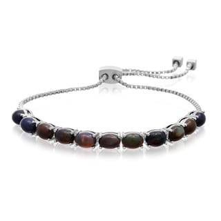5 1/2 TGW Black Opal Adjustable Slide Tennis Bracelet