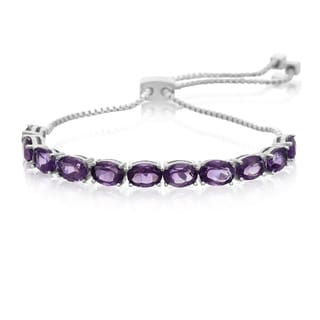 8 Carat Amethyst Adjustable Slide Tennis Bracelet