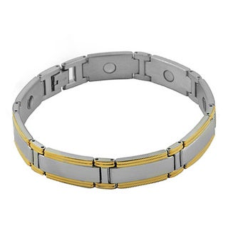 Steel and Gold PVD Magnet Link Bracelet