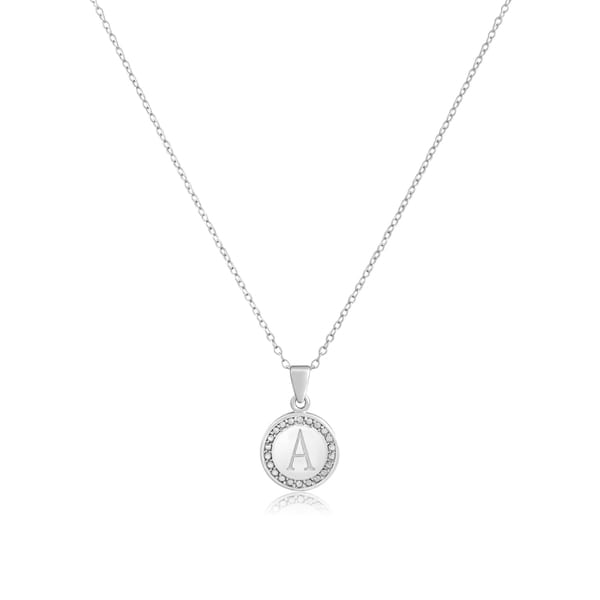 Personalized Initial Diamond Necklace In Sterling Silver