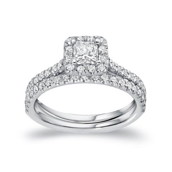 Auriya Platinum 1ct TDW Certified Princess-cut Diamond Halo Bridal Ring Set