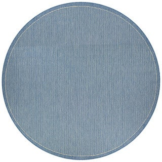 Couristan Recife Saddle Stitch Champagne Blue Polypropylene Round Power-loomed Area Rug (8'6 x 8'6)