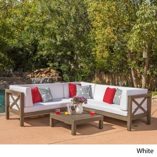 Brava Outdoor 4-Piece Wood Sectional Set w/ Cushions by Christopher Knight Home (Option: White)