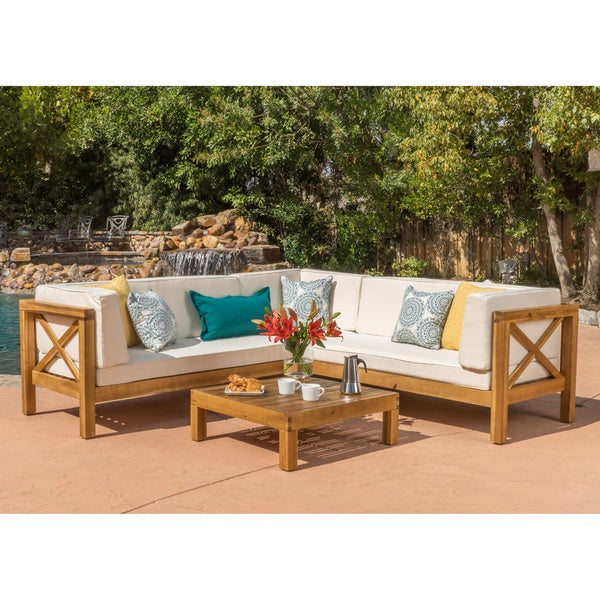 Brava Outdoor 4 Piece Wood Sectional Set W/ Cushions By Christopher Knight  Home Part 89