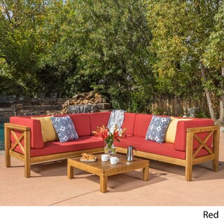 Brava Outdoor 4-Piece Wood Sectional Set w/ Cushions by Christopher Knight Home (Option: Red)