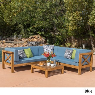 Brava Outdoor 4-Piece Wood Sectional Set w/ Cushions by Christopher Knight Home (5 options available)