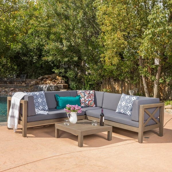 Shop Brava Outdoor 4 Piece Wood Sectional Set W Cushions