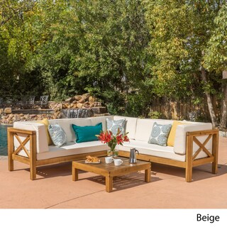 Brava Outdoor 4-Piece Wood Sectional Set w/ Cushions by Christopher Knight Home (Option: Beige)