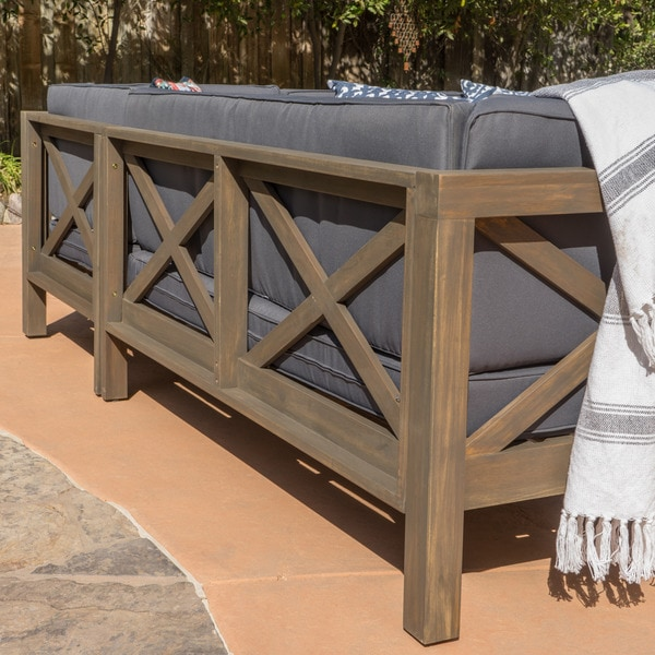 Brava Outdoor 4Piece Wood Sectional Set w Cushions by